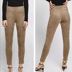 Zara Faux Suede Leggings High Rise Side Zip Taupe